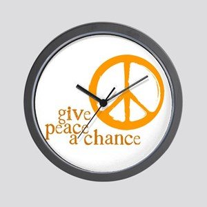 Give Peace a Chance - Orange Wall Clock