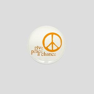 Give Peace a Chance - Orange Mini Button