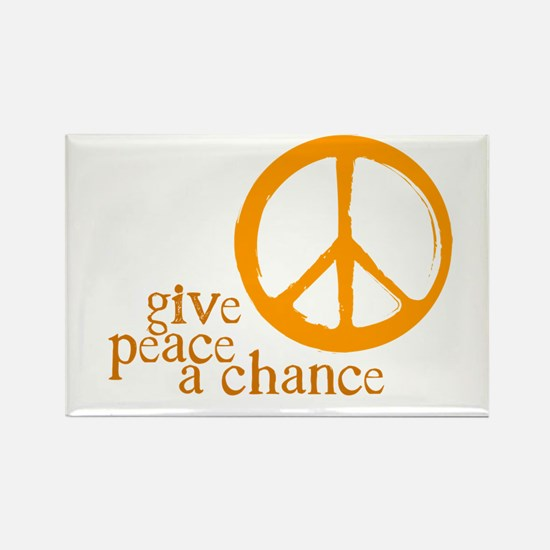 Give Peace a Chance - Orange Rectangle Magnet