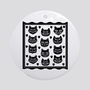Cat Faces Ornament (Round)