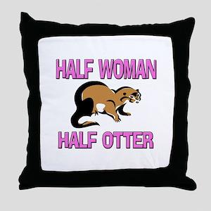 Half Woman Half Otter Throw Pillow