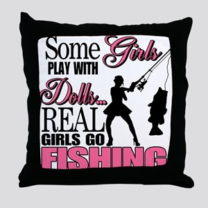 Real Girls Go Fishing Throw Pillow