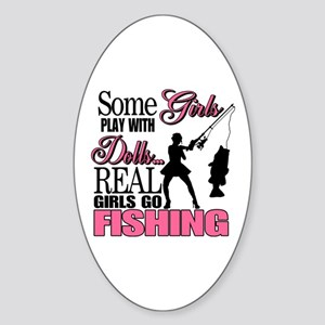 Real Girls Go Fishing Oval Sticker