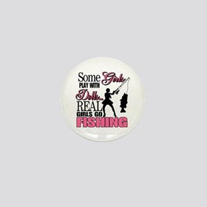 Real Girls Go Fishing Mini Button