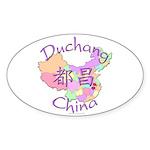 Duchang China Map Oval Sticker (10 pk)