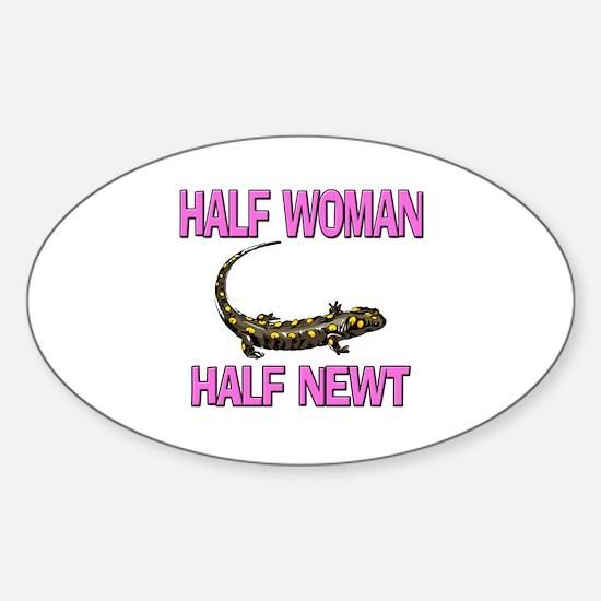 Half Woman Half Newt Oval Decal