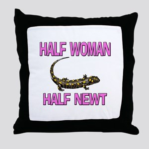 Half Woman Half Newt Throw Pillow
