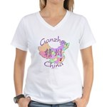 Ganzhou China Map Women's V-Neck T-Shirt