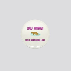 Half Woman Half Mountain Lion Mini Button