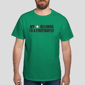 My Heart Belongs to a Firefighter Dark T-Shirt