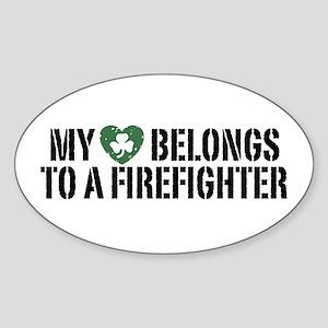 My Heart Belongs to a Firefighter Oval Sticker