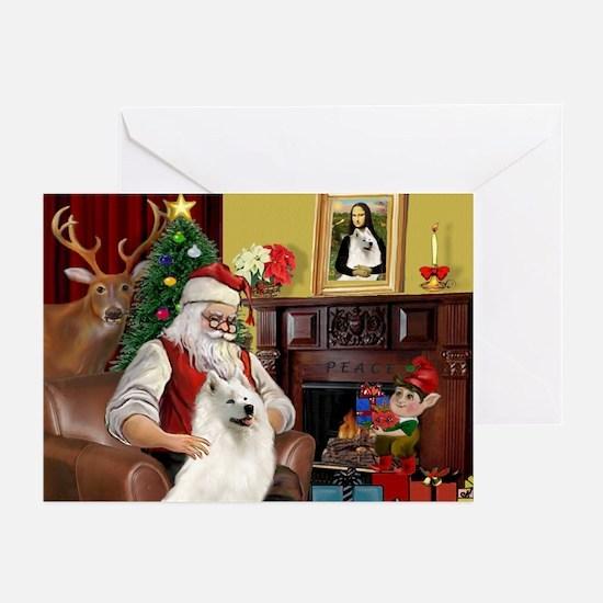 Santa's Samoyed Greeting Cards (Pk of 10)