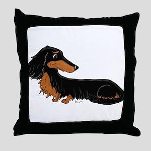 Black Tan Dachshund Throw Pillow