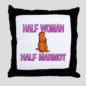 Half Woman Half Marmot Throw Pillow