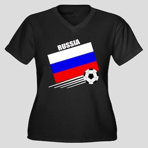 Russia Soccer Team Women's Plus Size V-Neck Dark T