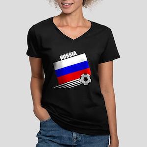 Russia Soccer Team Women's V-Neck Dark T-Shirt