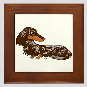 Chocolate Dapple Dachshund Framed Tile