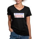 McCain 2008 - Say no to BO Women's V-Neck Dark T-S