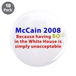 """McCain 2008 - Say no to BO 3.5"""" Button (10 pack)"""