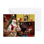 Santa's Red Husky Greeting Cards (Pk of 10)