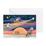 Xmas Star & S Husky Greeting Cards(Pk of 10)