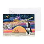 Xmas Star & S Husky Greeting Card