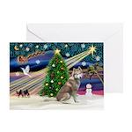 Xmas Magic & Red Husky Greeting Card