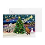 Xmas Magic & Vizsla Greeting Card