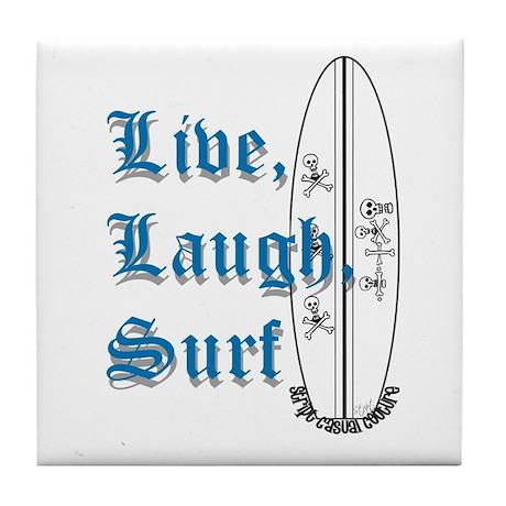 Live, Laugh, Surf Tile Coaster