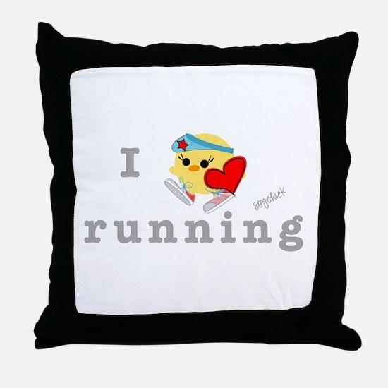 I Love Running Throw Pillow