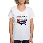 21st Century America Women's V-Neck T-Shirt