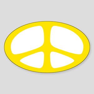 Peace Oval Sticker (Neo Yellow)