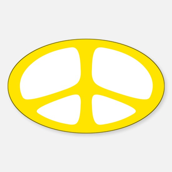 Peace Oval Sticker (Neo Yellow)