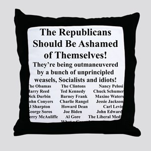 """Shame on Republicans"" Throw Pillow"