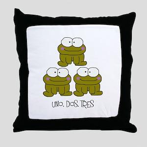 Uno, Dos, Tres RIBBITS! Throw Pillow