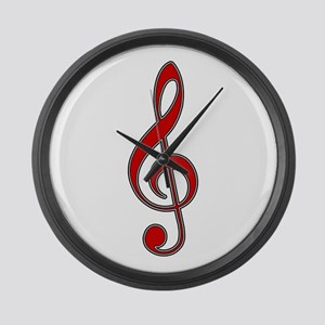 Retro Red Treble Clef Giant Clock