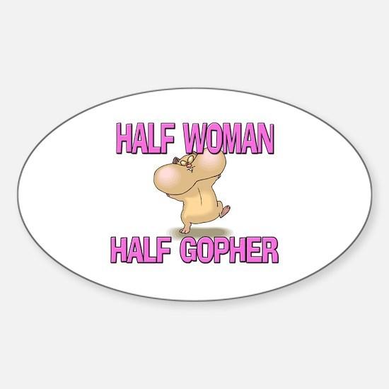 Half Woman Half Gopher Oval Decal