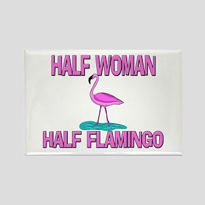 Half Woman Half Flamingo Rectangle Magnet