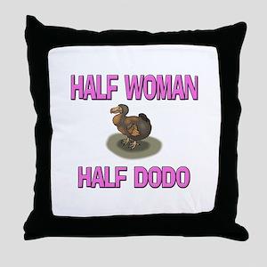 Half Woman Half Dodo Throw Pillow
