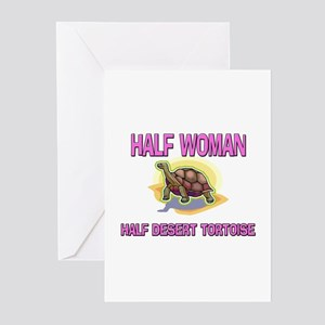 Half Woman Half Desert Tortoise Greeting Cards (Pk