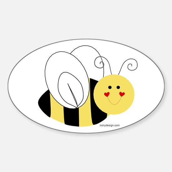 Cute Bee Oval Decal