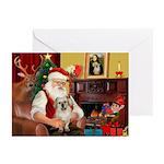 Santa/Tibetan Spaniel Greeting Cards (Pk of 10)