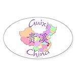 Guixi China Map Oval Sticker (10 pk)