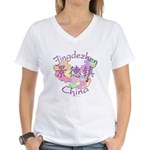 Jingdezhen China Map Women's V-Neck T-Shirt