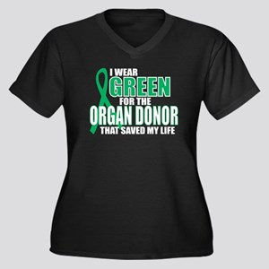 Green For Organ Donor Women's Plus Size V-Neck Dar