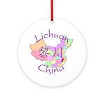 Lichuan China Map Ornament (Round)
