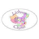 Lichuan China Map Oval Sticker (10 pk)