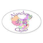 Nanchang China Map Oval Sticker (10 pk)