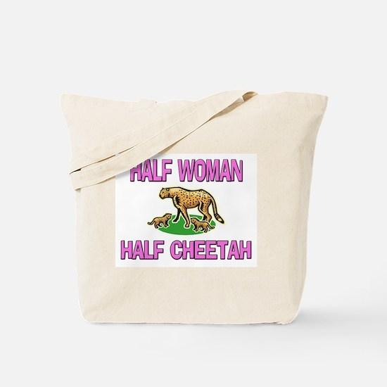Half Woman Half Cheetah Tote Bag