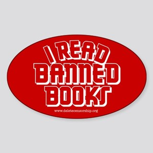 """Banned Books"" Oval Sticker"